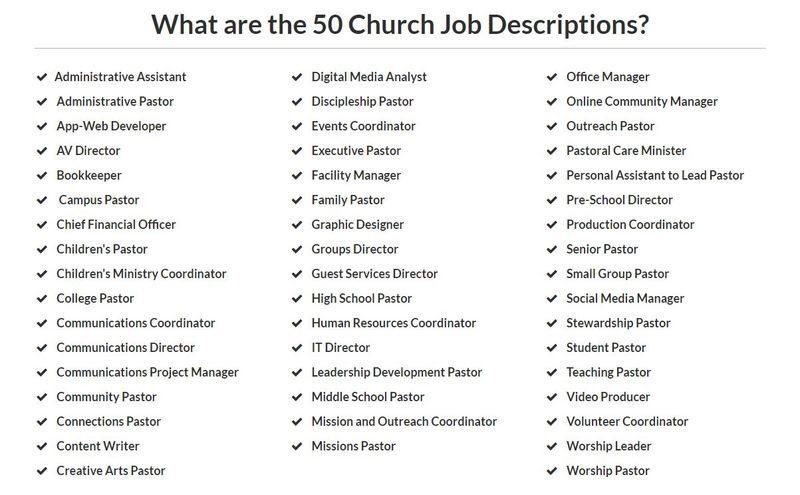 50 Church Job Descriptions Already Done For You | Brian Dodd